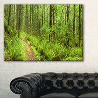 Lush Forest Path Columbia River - Forest Canvas Wall Art Print - Green