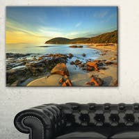 Sunset in Cala Violina Bay - Landscape Wall Art Canvas Print - Blue