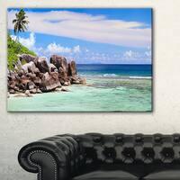 Beautiful Seychelles Rocky Coast - Landscape Wall Art Canvas Print - Blue