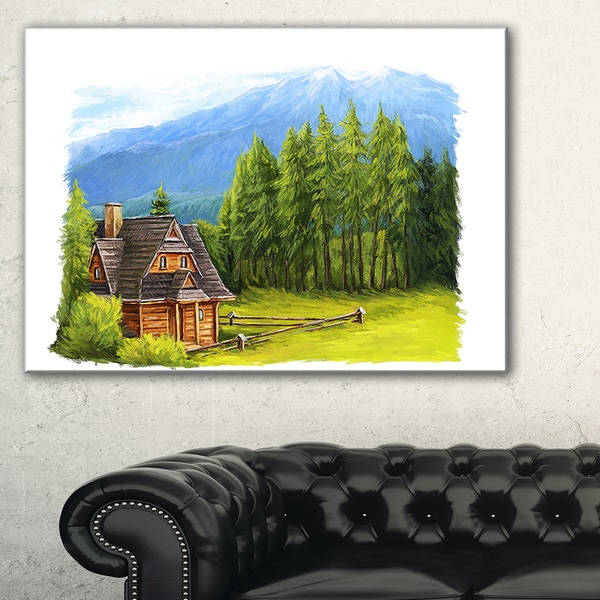Shop Small Wooden Home In Mountains Landscape Wall Art Canvas