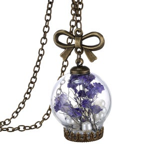 18k Gold Overlay Dried Flower and Pearl Purple Glass Orb Pendant