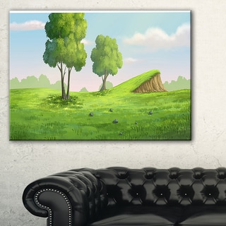 Green Garden with Mound and Trees - Oversized Landscape Wall Art Print