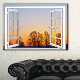 Window to Sunset over the Snow - Oversized Landscape Wall Art Print