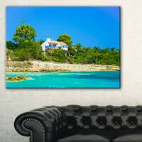 House on the Island of Cyprus - Oversized Landscape Wall Art Print - Blue