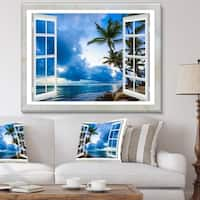 Window Open to Cloudy Blue Sky - Oversized Landscape Wall Art Print