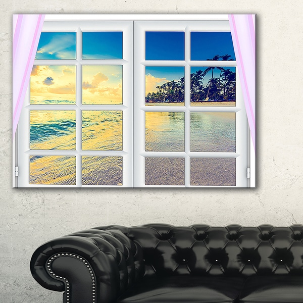 Closed Window to Ocean Sunset - Oversized Landscape Wall Art Print