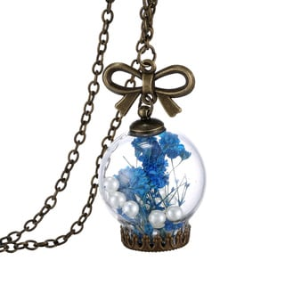 18k Gold Overlay Dried Flower and Pearl Glass Orb Pendant