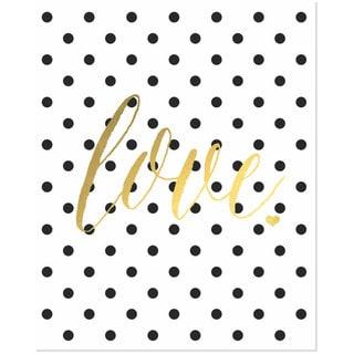 Gold Foil Polka Dot 'Love' Art Print