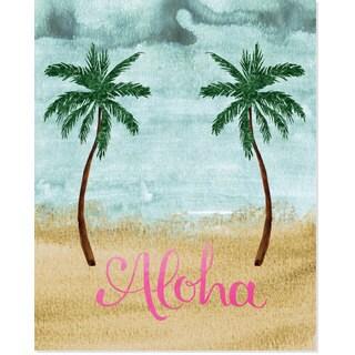 Secretly Designed 'Aloha' Double Palm Tree Art Print