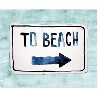 Secretly Designed 'To the Beach' Turquoise Art Print