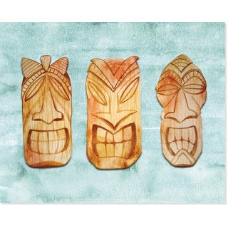 Secretly Designed Tiki Faces Art Print