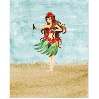 Secretly Designed 'Aloha Dancer on the Beach' Art Print