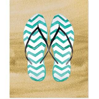 'Flip Flop in Sand' Multi/Blue/Brown Paper Art Print