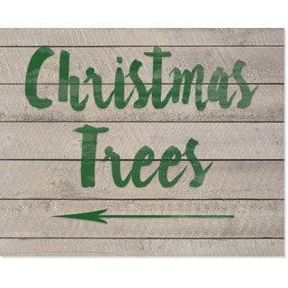 Christmas Tree Green/Beige Wood Sign Art Print