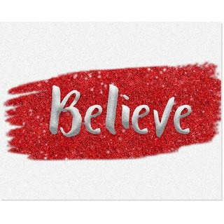 Red & Silver 'Believe' Unframed Paper Art Print