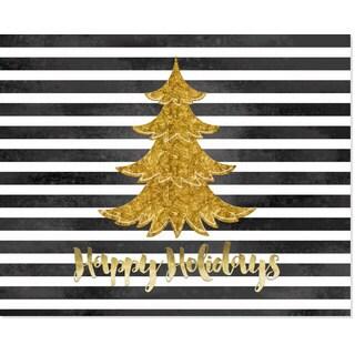 Black & White Stripe Gold Paper Christmas Tree Art Print