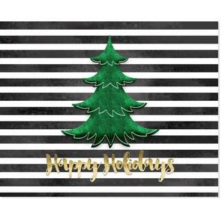 Black & White Stripes Green Christmas Tree Art Print