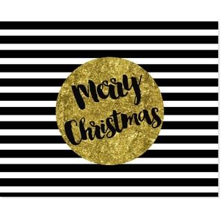 Black, White & Gold Paper 'Merry Christmas' Art Print