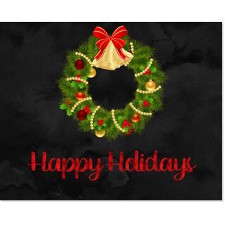 'Happy Holidays' Wreath Art Print