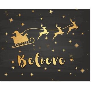Gold Foil Santa Believe Art Print