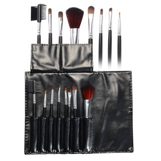 Zodaca Black Professional Cosmetic Makeup Brushes Set with Leather Pouch Bag (Set of 8)