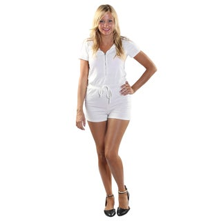 Hadari Women's White frontal zipdown Short Romper with Draw String Waistline and Hoodie.