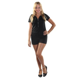 Hadari Women's Black frontal zipdown Short Romper with Draw String Waistline and Hoodie.