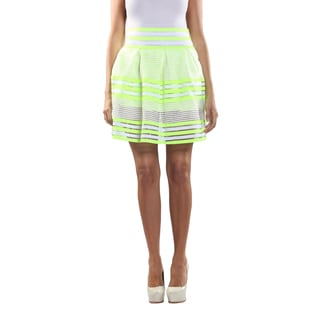 Hadari Women's Elastic Waistline laced Inset Patterned Lime Green and White Medi Skirt