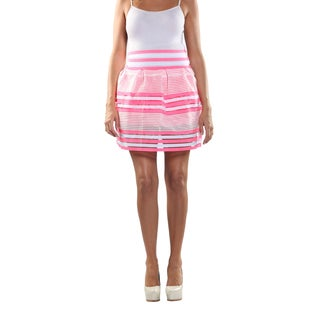 Hadari Women's Elastic Waistline laced Inset Patterned Pink and White Medi Skirt