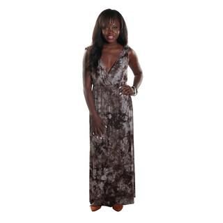 Hadari Women's Side Slit V-Neck Sleeveless Brown Maxi Dress
