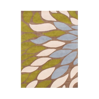 A Colorful Palette Alliyah Flower Petals Tobacco Brown Organic Wool Rug (5' x 8')