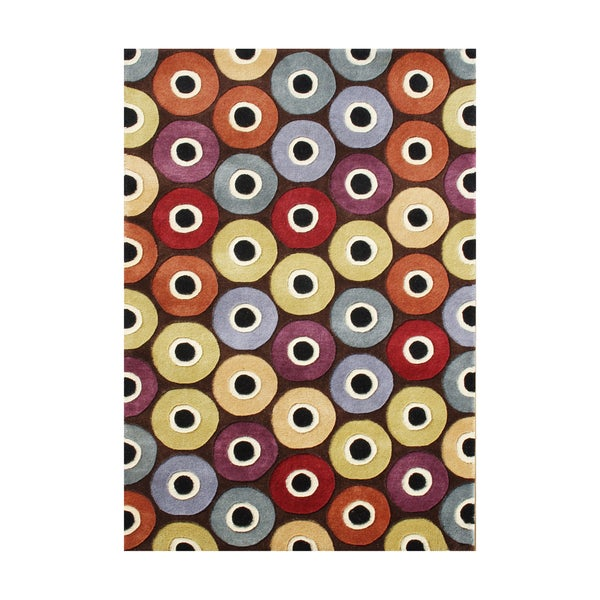 Alliyah Rugs Diagonal Wheels Multicolored Wool Area Rug - 8' x 10'