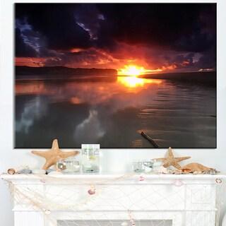 Mirrored Sun in Cloudy Dark Seashore - Contemporary Seascape Art Canvas