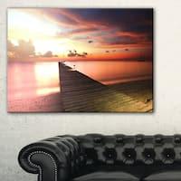 Wooden Boardwalk into Colorful Sea - Large Sea Bridge Canvas Art Print