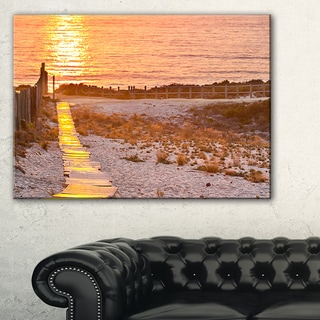 Yellowish Boardwalk into Seashore - Large Sea Bridge Canvas Art Print