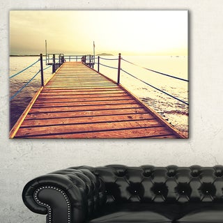 Brown Wooden Boardwalk to the Sea - Large Sea Bridge Canvas Art Print