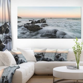 Bay of Biscay Waves Hitting Beach Contemporary Seascape Art Canvas