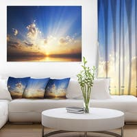 Sunset in the Ocean Blue Sky Panorama Contemporary Seascape Art Canvas