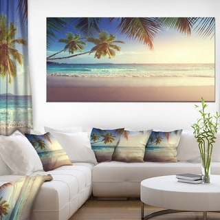 Typical Sunset on Seychelles Beach - Extra Large Seascape Art Canvas