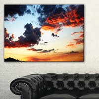 Blazing Sky with Clouds Panorama - Extra Large Seascape Art Canvas
