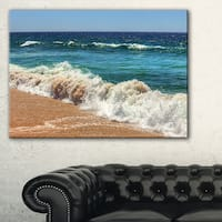 Atlantic Beach with Foaming Waves - Extra Large Seascape Art Canvas