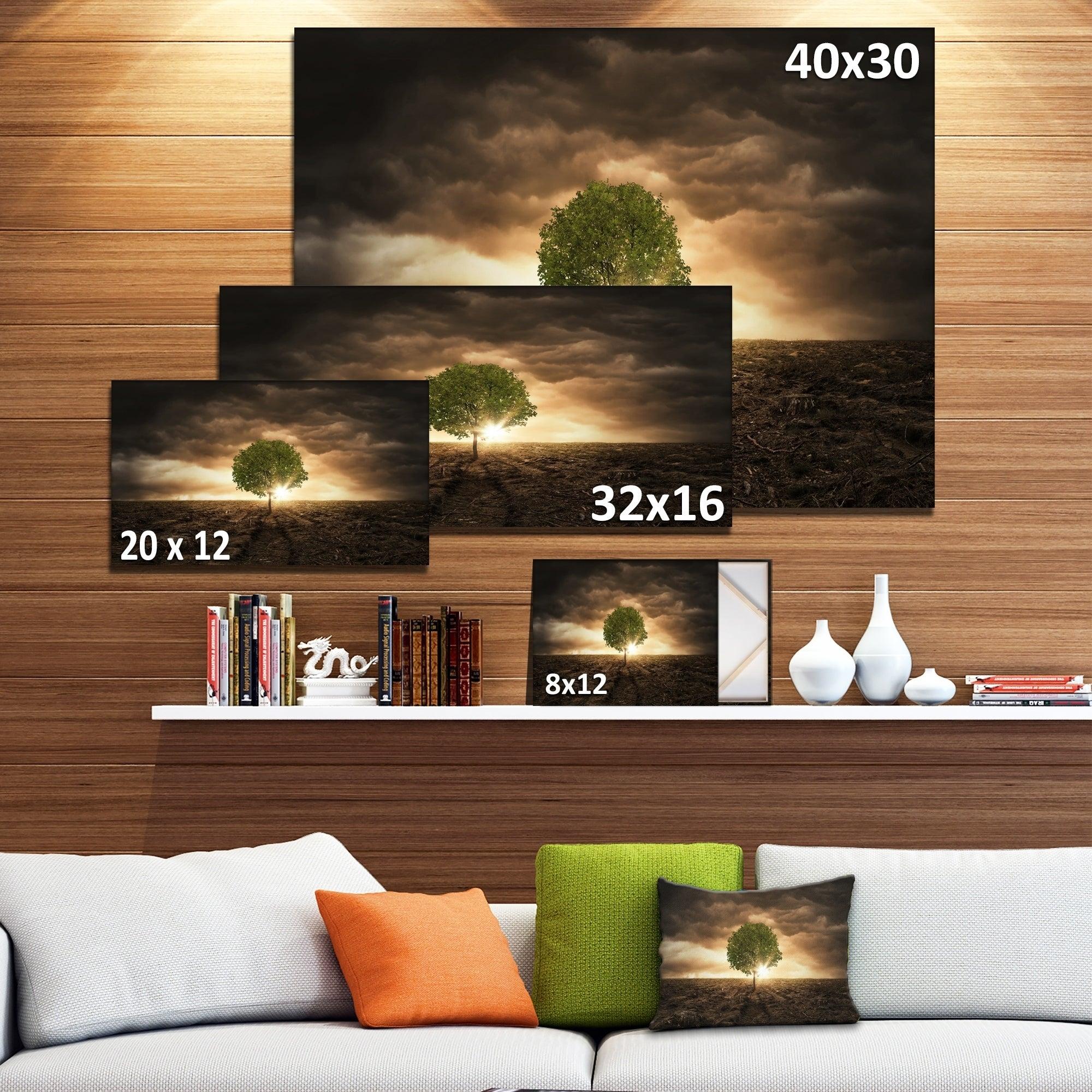 Lonely Tree Under Dramatic Sky Extra Large Wall Art Landscape Multi Color Overstock 12221530