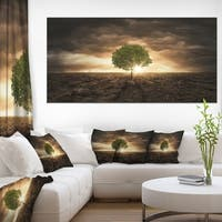 Lonely Tree under Dramatic Sky - Extra Large Wall Art Landscape - Multi-color