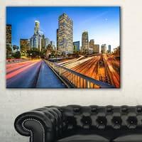 Downtown LA with Traffic Trail  - Cityscape Canvas print - Multi-color