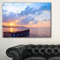 Small Fishermen Boat at Sunset - Modern Seashore Canvas Art