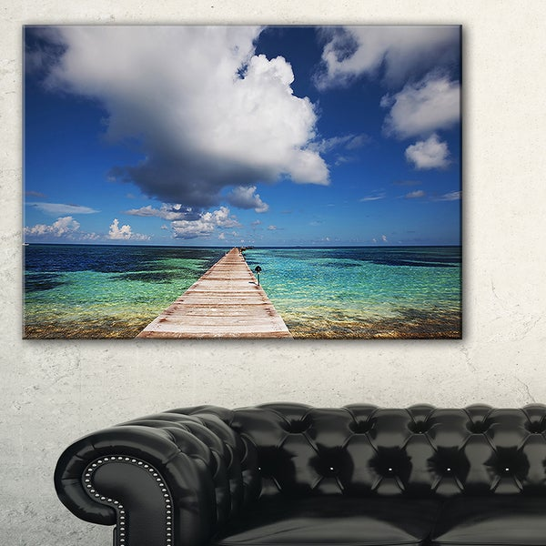 Designart New York City Skyline Panorama 5 Piece Wall: Long Pier Into Serene Maldives Ocean