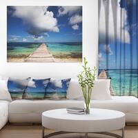 Long Pier into Serene Maldives Ocean Large Sea Bridge Canvas Art Print