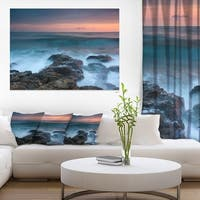 Rocky Beach and White Waves - Large Seashore Canvas Print