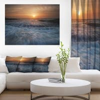 Sunrise over Rushing White Waves - Modern Beach Canvas Art Print