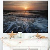 Dark Seashore with Rushing Waves - Modern Beach Canvas Art Print